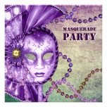 Fiesta verde púrpura de la mascarada de las gotas  comunicado personalizado