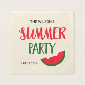 Fiesta verde rojo del verano de la sandía servilleta desechable