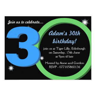 """Fiesta verde/trigésima de cumpleaños del azul para invitación 5.5"""" x 7.5"""""""