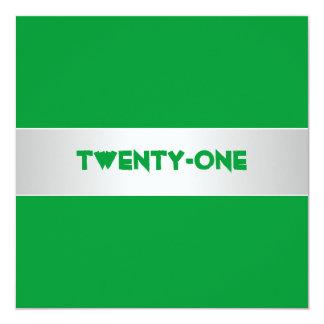 Fiesta verde y 21ra de cumpleaños del blanco invitación 13,3 cm x 13,3cm