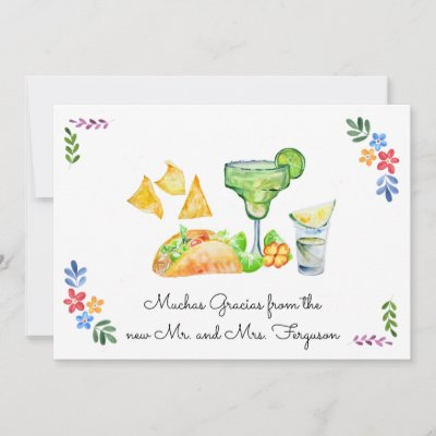 Fiesta Wedding | Tacos and Tequila Thank You Card