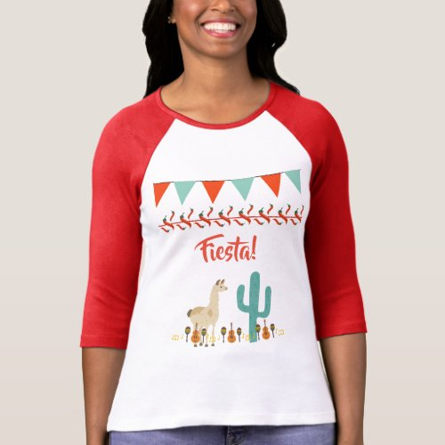 Fiesta with lama cactus mexican style T_Shirt