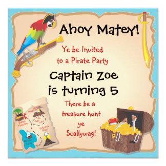 """Fiesta y caza del tesoro de cumpleaños del pirata invitación 5.25"""" x 5.25"""""""