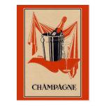 Fiesta y cumpleaños del champán del vintage tarjeta postal
