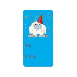 Fiesta Yeti del confeti Etiquetas De Dirección