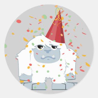 Fiesta Yeti del confeti Pegatina Redonda