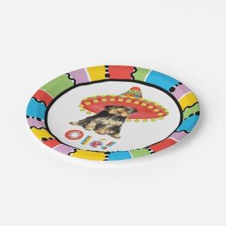 Fiesta Yorkie Paper Plate