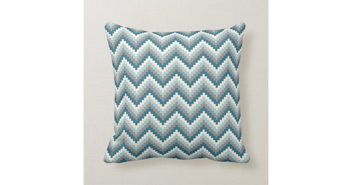 Grey Chevron Throw Pillow : Fiesta Zigzag Chevron Pattern Blue Grey Throw Pillow Zazzle