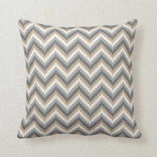 Fiesta Zigzag Chevron Pattern Grey And Tan Throw Pillow at Zazzle