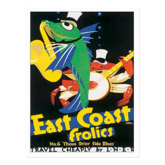 Fiestas de la costa este del vintage tarjeta postal