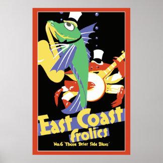 Fiestas de la costa este: Pescados, cangrejo que j Póster