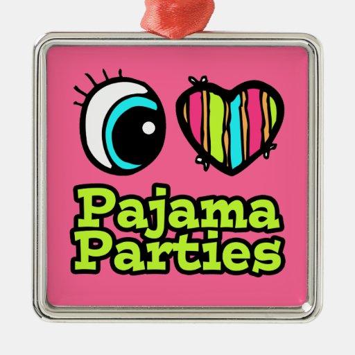 Fiestas de pijama brillantes del amor del corazón adorno navideño cuadrado de metal