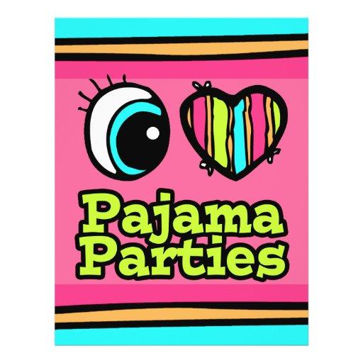 """Fiestas de pijama brillantes del amor del corazón  folleto 8.5"""" x 11"""""""