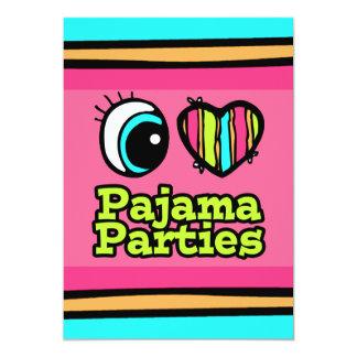 """Fiestas de pijama brillantes del amor del corazón invitación 5"""" x 7"""""""