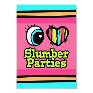 Fiestas de pijamas brillantes del amor del corazón invitación 12,7 x 17,8 cm