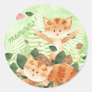 Fiestas del follaje de los gatos - pegatinas pegatina redonda