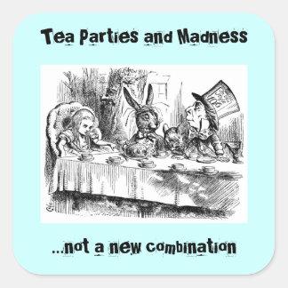 Fiestas del té y locura pegatina cuadrada