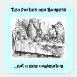 Fiestas del té y locura pegatinas cuadradases