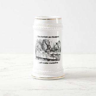 Fiestas del té y locura jarra de cerveza