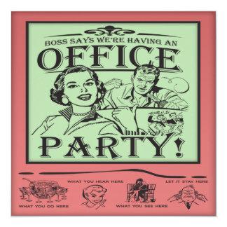 """Fiestas en la oficina divertidas invitación 5.25"""" x 5.25"""""""