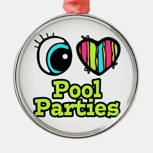 Fiestas en la piscina brillantes del amor del cora ornamento de navidad