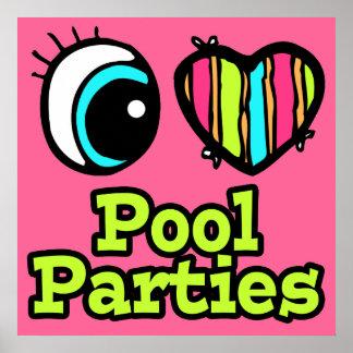 Fiestas en la piscina brillantes del amor del cora impresiones