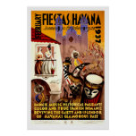 Fiestas in Havana Vintage Travel Poster