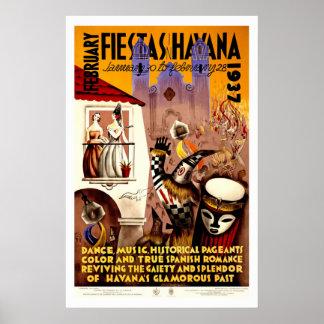 """""""Fiestas in Havana"""" Vintage Travel Print"""