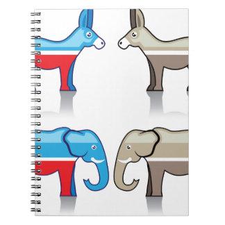 Fiestas políticos del burro y del elefante libros de apuntes