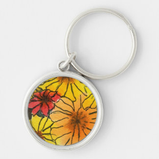 """""""Fiesty Floral #3"""" Floral Keychain"""