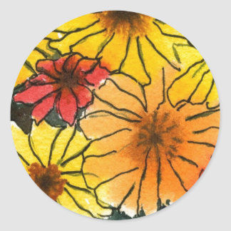 """Fiesty Floral #3"" Floral Sticker"