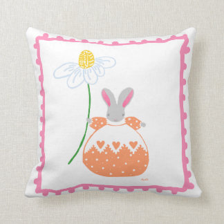 'fifi' daisy bunny in pink and orange pillow