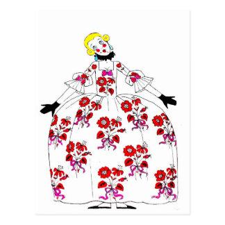Fifi ~ Postcard Flowers French Girl Vintage I
