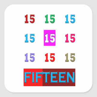 Fifteen 15th Birthday Anniversary Age Room Game Square Stickers