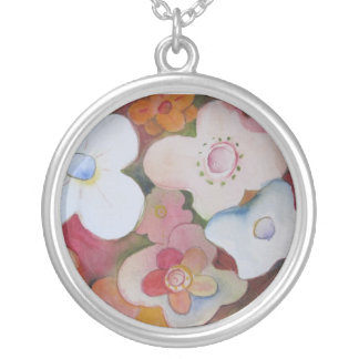 Fifteen Flowers from Original Watercolor Painting Round Pendant Necklace