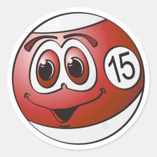Fifteen Pool Ball Cartoon Classic Round Sticker