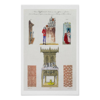 Fifteenth century furniture, from 'Monuments Franc Poster