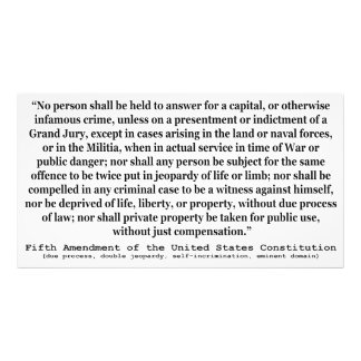 Fifth Amendment to the United States Constitution Photo Print
