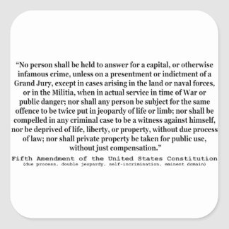 Fifth Amendment to the United States Constitution Sticker