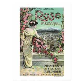 Fifth Annual Rose Festival Advertisement Postcard