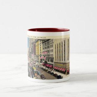 Fifth Ave., New York City Vintage Two-Tone Coffee Mug
