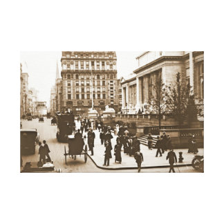 Fifth Avenue and New York City Public Library 1908 Canvas Print