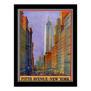 Art Deco Poster New York.Fifth Avenue New York Art Deco Vintage Poster