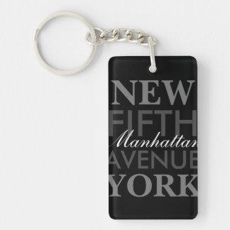 Fifth Avenue New York Single-Sided Rectangular Acrylic Keychain