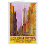 Fifth Avenue New York Vintage Travel Poster Card