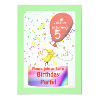 Fifth Birthday Party Chicken Card