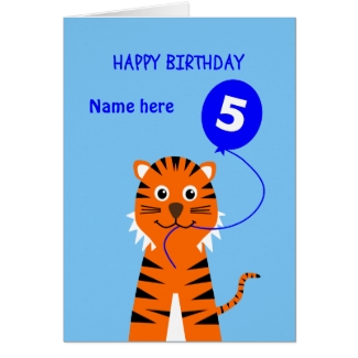 Fifth birthday tiger add name blue