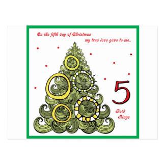 Fifth Day of Christmas Postcard