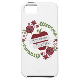 Fifth Grade Teacher Floral Wreath Red Apple iPhone SE/5/5s Case