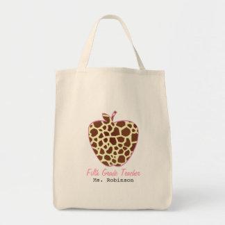 Fifth Grade Teacher Giraffe Print Apple Tote Bags